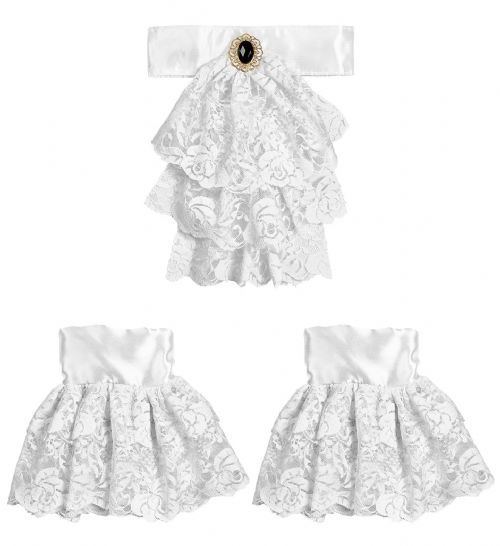 LACE JABOT w/ GEM & CUFFS Fancy Dress Kit Set Fancy Dress